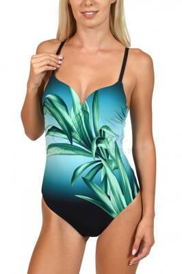 b470632220 Jednodielne celé plavky s jemne vystuženou podprsenkou s kosticou Lisca  43377 Ios zelená G4